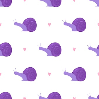 白地にかわいい紫のカタツムリと心のシームレスなパターン。