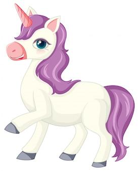 Милый фиолетовый единорог в положении стоя на белом фоне