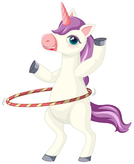 Cute purple unicorn in playing hula hoop position on white background