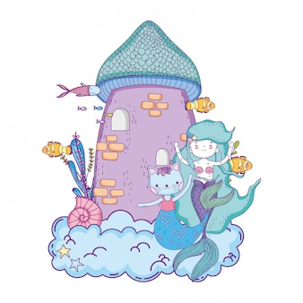 Cute purrmaid and mermaid with castle
