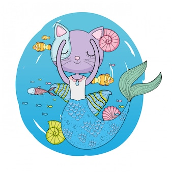 Cute purrmaid undersea scene