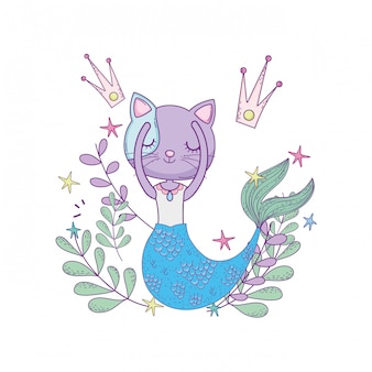 Cute purrmaid with crowns and floral decoration