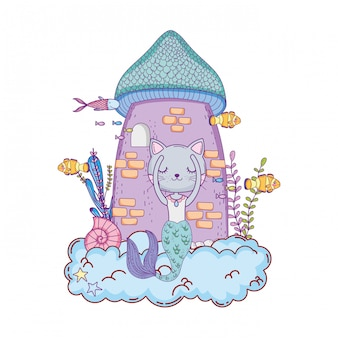 Cute purrmaid with tower of castle undersea