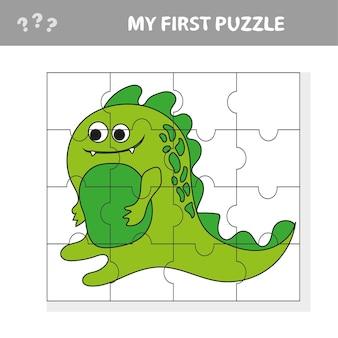 かわいいパズルゲーム。子供のための幸せな漫画の恐竜とパズルゲームのベクトルイラスト