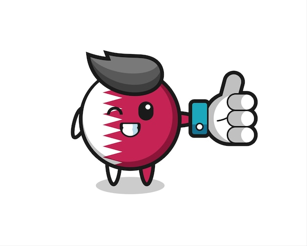 Cute qatar flag badge with social media thumbs up symbol , cute style design for t shirt, sticker, logo element