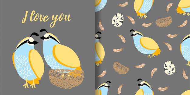 Cute quail hand drawn animal seamless pattern with illustration card set