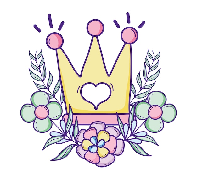 Cute queen crown with flowers and leaves