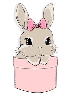 ポケットにかわいいウサギとリボン。子供用テキスタイル、ポスターデザイン、保育園の印刷。イラスト素材。