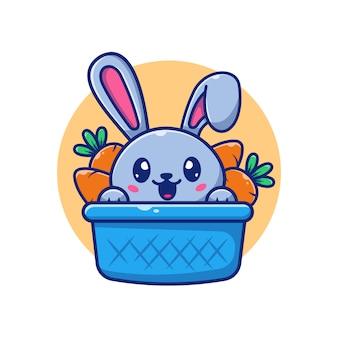 Симпатичные кролик и морковь значок иллюстрации. банни логотип талисман мультипликационный персонаж. животное логотип концепция белый изолированный