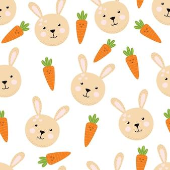 かわいいウサギとニンジンのシームレスなパターン漫画風の春