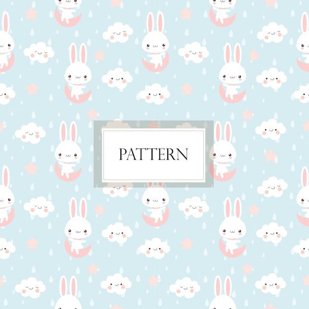 귀여운 토끼와 파란색 배경에 구름