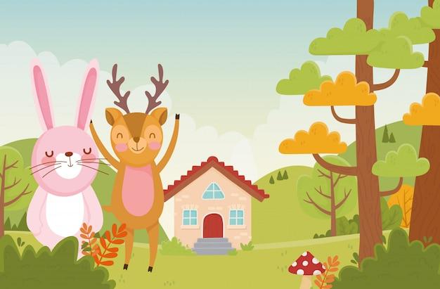 Симпатичные кролик и олень листва деревьев природа