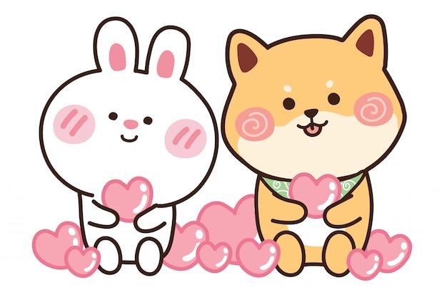 Милый кролик и собака в мультфильме. дизайн персонажей животных.