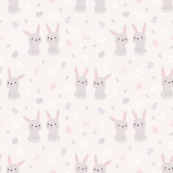 かわいいウサギとイースターエッグのシームレスパターン。