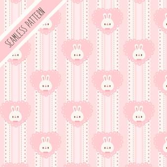 Милый кролик и розовое сердце бесшовные модели. рисованный кролик