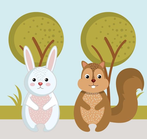 Симпатичный кролик и белка диких животных лес пейзаж дерево