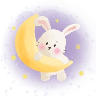 Милый кролик и луна в стиле акварели.