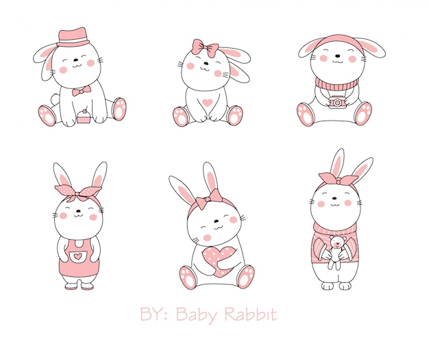 The cute rabbit  animal cartoon on white background. hand drawn style