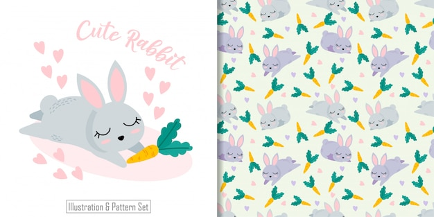Cute rabbit animal seamless pattern with hand drawn illustration card set