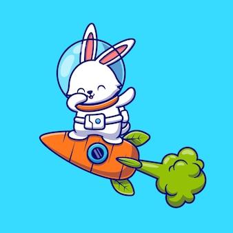 ニンジンロケット漫画アイコンイラストで軽くたたくと飛んでかわいいウサギの宇宙飛行士。分離された動物技術アイコンの概念。フラット漫画スタイル