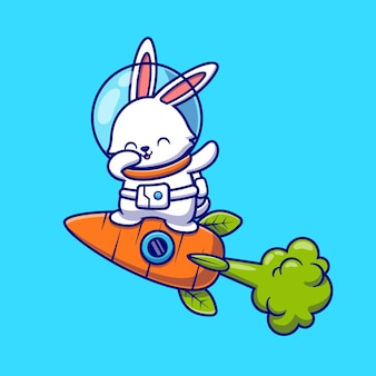 Cute rabbit astronaut dabbing and flying with carrot rocket cartoon   icon illustration. animal technology icon concept isolated    . flat cartoon style