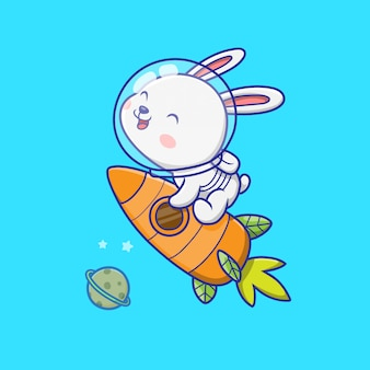Cute rabbit astronaut riding rocket illustration