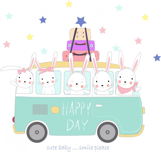 The cute rabbit baby to travel on holiday