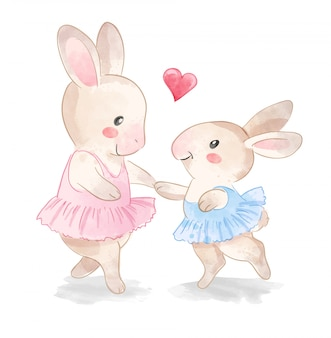 Cute rabbit ballerina family
