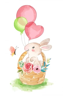 Cute rabbit in basket with butterfly illustration