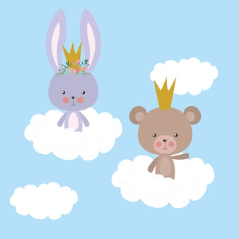 Cute rabbit and bear over clouds