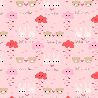 Cute rabbit and bear in love seamless pattern