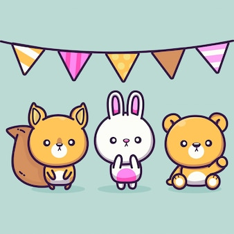 Cute rabbit bear and squirrel party  illustration