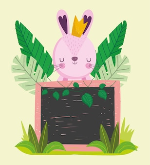 Cute rabbit and board