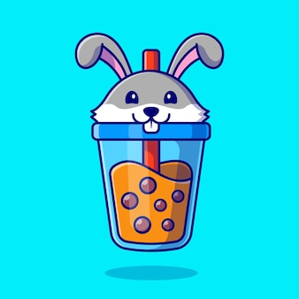 Cute rabbit boba milk tea cartoon icon illustration.