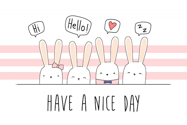 Cute rabbit bunny cartoon doodle pastel wallpaper