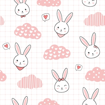 Cute rabbit bunny cartoon doodle seamless pattern