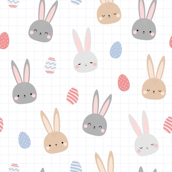 Cute rabbit bunny easter egg cartoon doodle seamless pattern