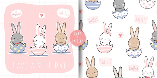 Cute rabbit bunny on egg cartoon doodle seamless pattern and card bundle