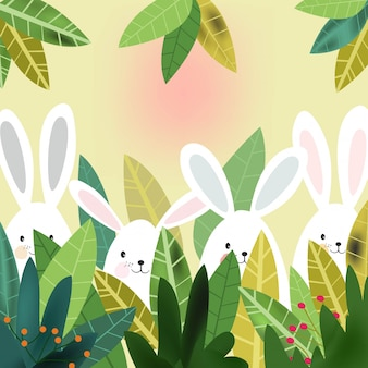 Cute rabbit bunny  in the forest cartoon.