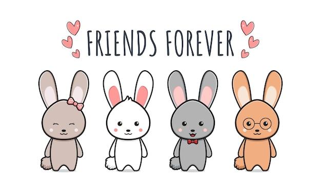 Cute rabbit bunny friends forever wallpaper icon cartoon illustration design isolated flat cartoon style