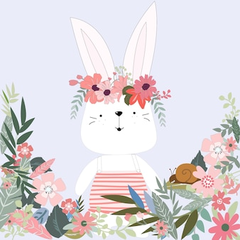 Cute rabbit bunny in flower garden cartoon