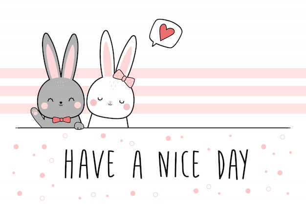 Cute rabbit bunny lover couple greeting cartoon doodle wallpaper