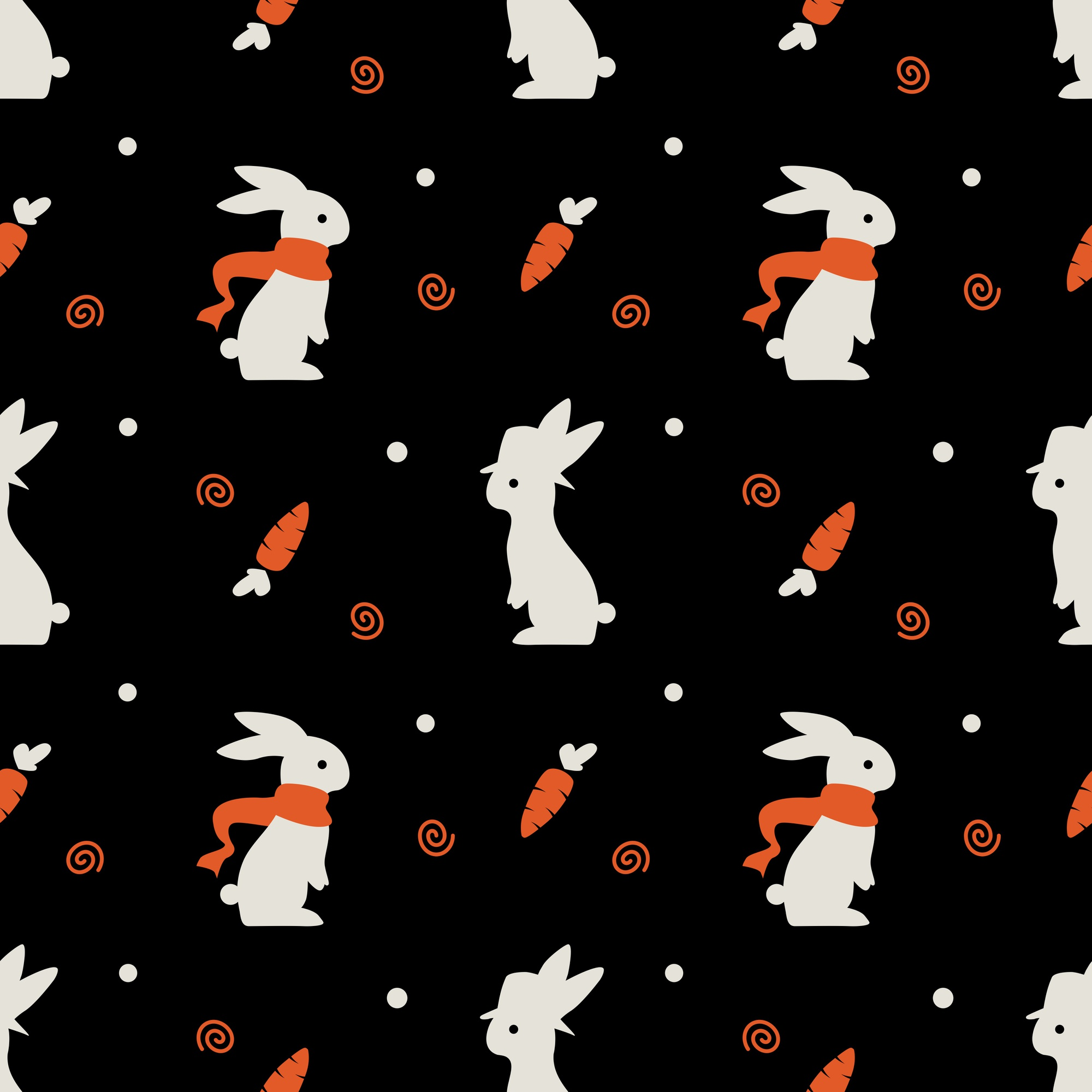 Cute rabbit bunny seamless pattern vector with carrot on black background