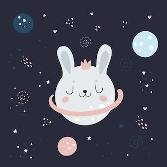 Cute rabbit bunny in space  in fantasy night cosmic sky with planets