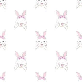 Cute rabbit bunny with bow sketch pattern seamless