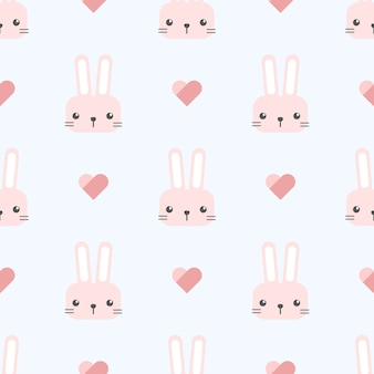 Cute rabbit bunny with heart cartoon seamless pattern