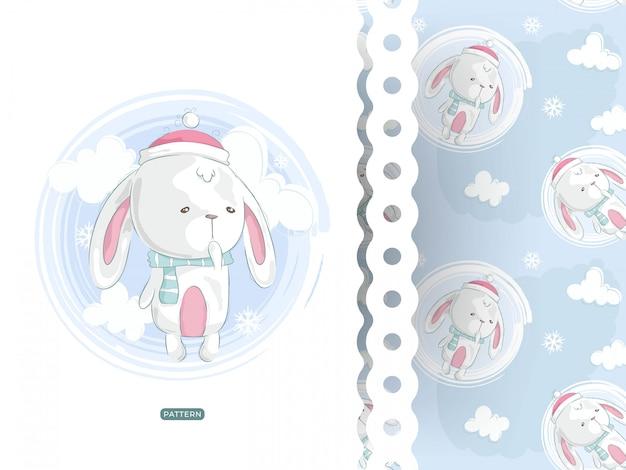 Симпатичная кроличья открытка с рисунком