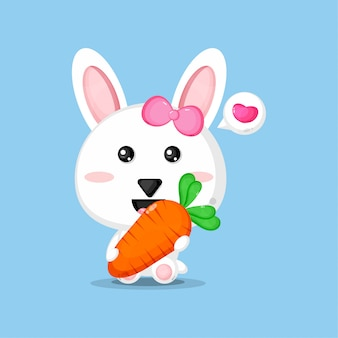 Cute rabbit carrying carrot