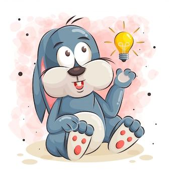 Милый кролик мультфильм и лампочка иллюстрации