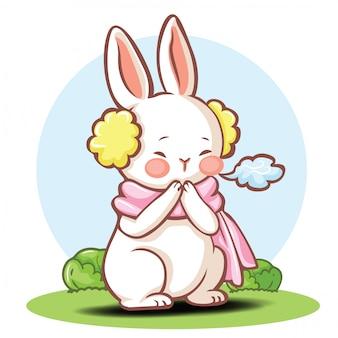 Cute rabbit cartoon character vector.